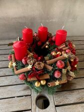 Adventskrans rood/goud kaarsen