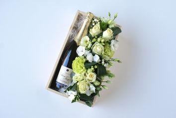Bloemencreatie met champagne