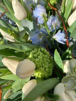 Lente grafstuk witte tulpen en blauwe delphinium